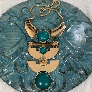 Jewelry - Gold Tone Turquoise Statement Costume Necklace